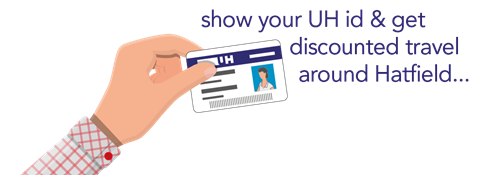 show your UH id and get discounted travel around Hatfield